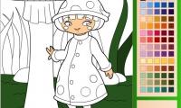 Mushroom Girl Coloring
